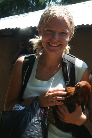 Elen with a chicken
