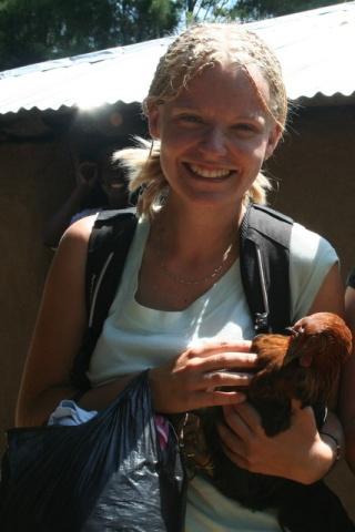 Elen with a chicken