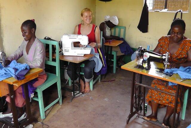 Karin in a tailoring class.